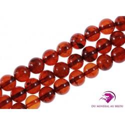 7 Perles rondes Ambre 6mm