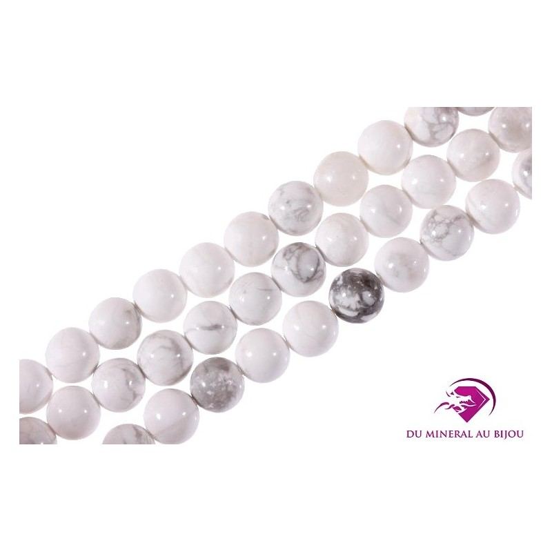10 Perles rondes Howlite 6mm