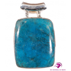 Pendentif rectangle en Apatite bleue