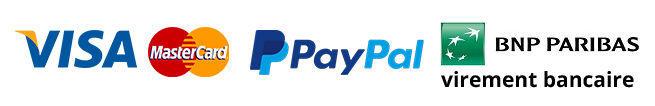 Paiement par Visa, Mastercard, PayPal, Virement bancaire